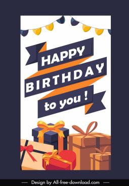 birthday poster template colorful gift box ribbon decor