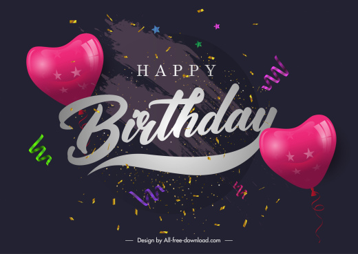birthday poster template dark dynamic heart balloons confetti
