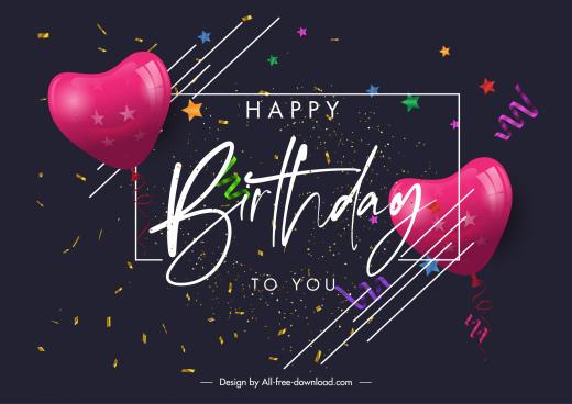 birthday poster template elegant dark confetti heart balloons