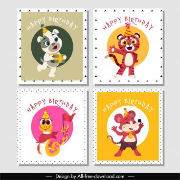 birthday stamp templates cute stylized animals sketch