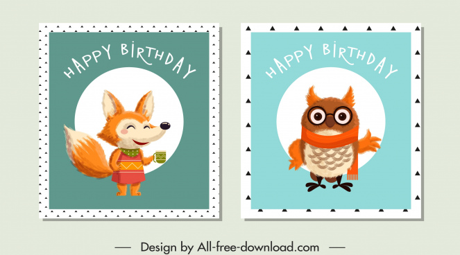 birthday stamp templates stylized fox owl sketch