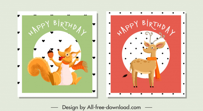 birthday stamp templates stylized squirrel reindeer sketch