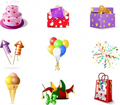 birthday design elements colored modern 3d icons decor