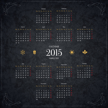 black15 new year calendar vector