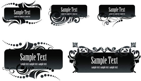 black aesthetic text frames vector