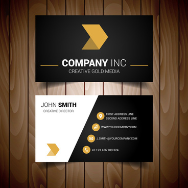 Gold and black business card vector free vector download 30253 black and gold minimal business card reheart Image collections