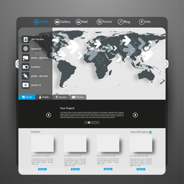 black and gray style web template vector