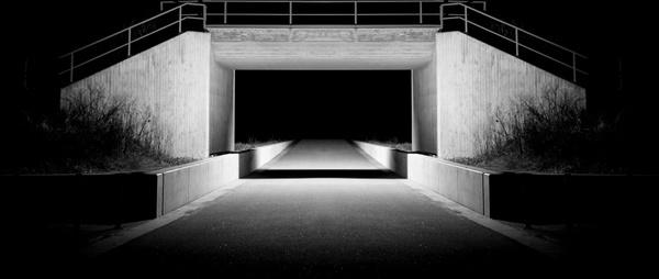 black and white bridge car city concrete dark decay