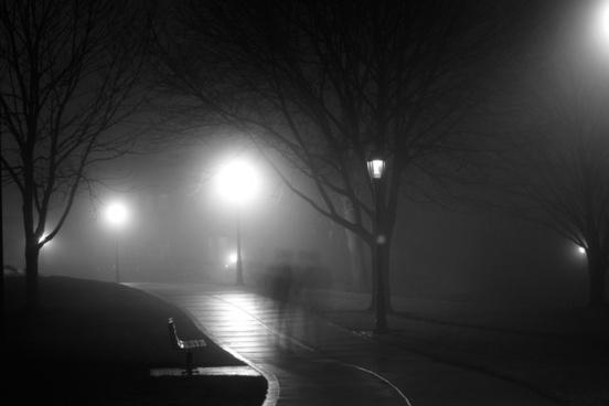 black and white bridge city cold dark fog foggy