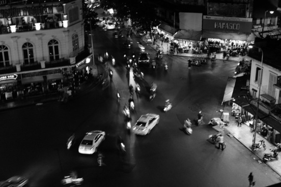 black and white bridge city crowd dark group light