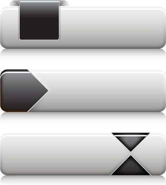 black and white buttons vectors
