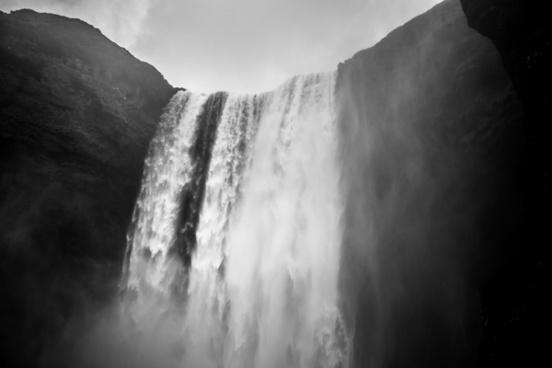 black and white cascade daytime fog frozen ice