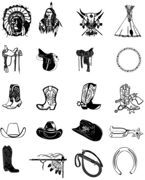 black and white clip art cowboy accessories