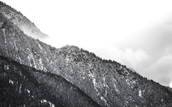 black and white cloud cold hill horizontal landscape