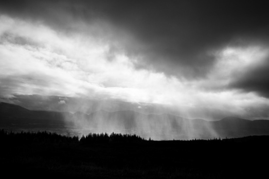 black and white cloud fog horizontal landscape light