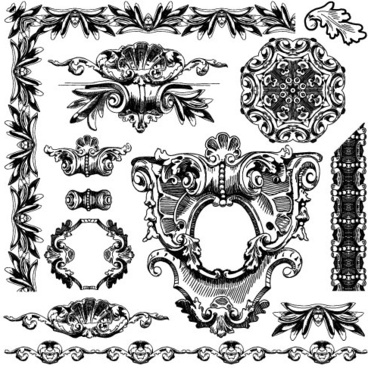 black and white decorative pattern borders vector