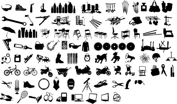 black and white design elements vector series 12 items silhouette