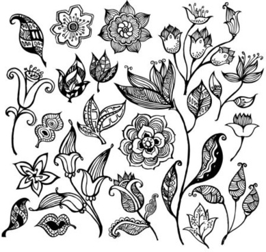 Black flower free vector download 16890 free vector for black and white flower pattern vector mightylinksfo