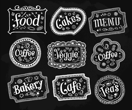 black and white food labels vector