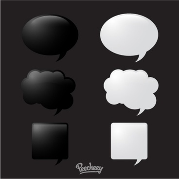 black and white glossy speech bubbles set