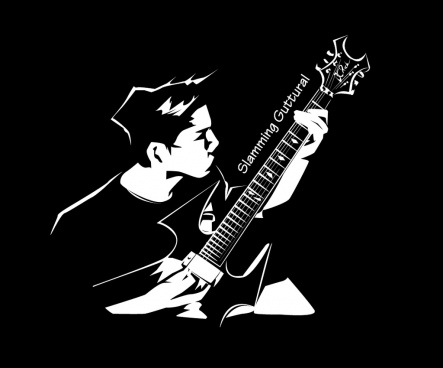 black and white guitar artist