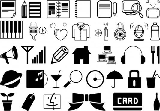 user interface icons collection black white classical design