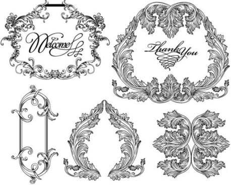 black and white lace pattern 03 vector