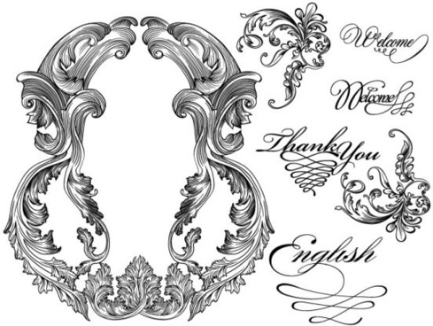 black and white lace pattern 04 vector