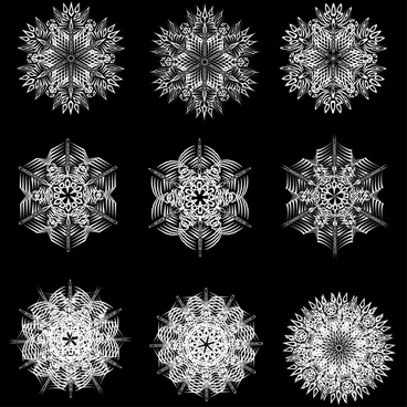 black and white line art vector floral patterns