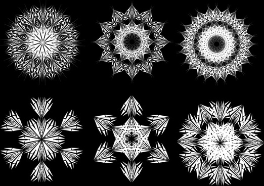 black and white line drawing floral patterns vector