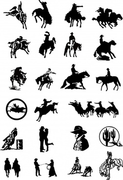 cow boy icons collection silhouette sketch