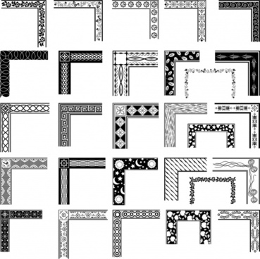 decorative frame elements templates black white retro sketch