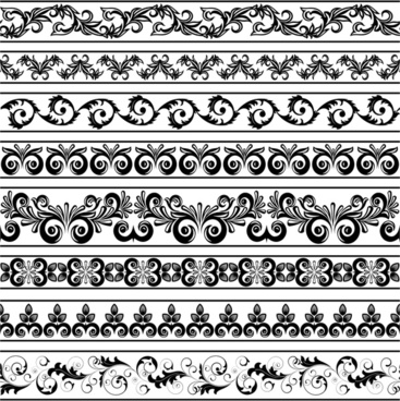 border elements collection retro repeating seamless symmetric shapes