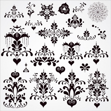 floral decorative elements black white retro symmetric shapes