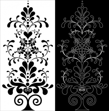 floral pattern retro black white flat decor