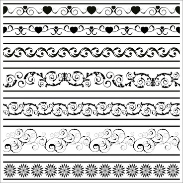 border elements templates retro black white seamless design