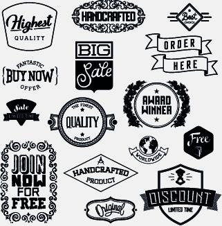 black and white retro labels design vector