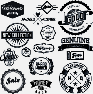 black and white retro labels design vector