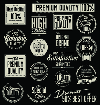 black and white sale labels retro style vector