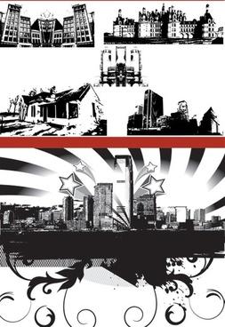black and white silhouette urban architecture vector