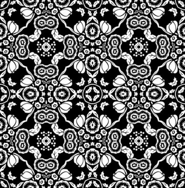 traditional pattern template black white seamless flowers decor
