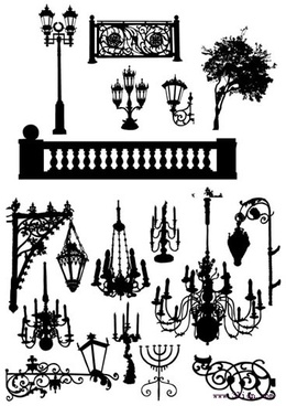 architecture decorative elements black silhouette sketch