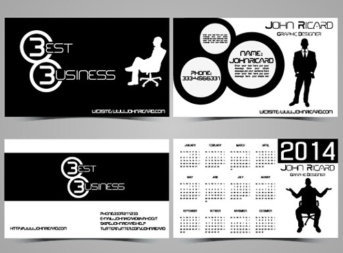 black and white style people business cards vector