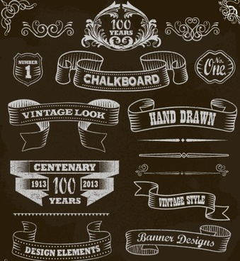 black and white style ribbon with frames ornaments vector
