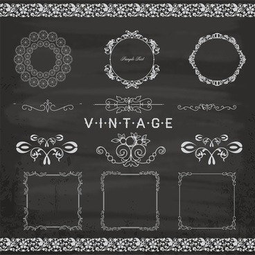 black and white vintage pattern borders