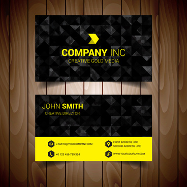 black and yellow abstract corporate business card