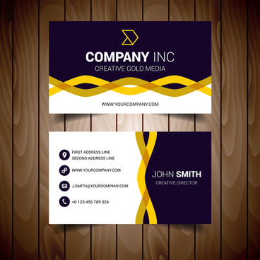 black and yellow wavy corporate business card