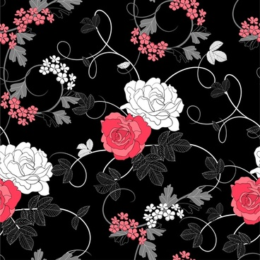 black background floral pattern vector