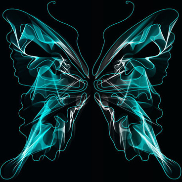 black background with bright butterfly vector graphic
