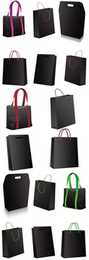 shopping bags icons black 3d design